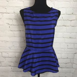 Petticoat Alley Anthro Open Back Striped Blouse